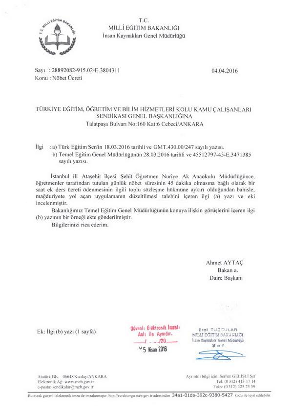 MEB'den Nöbet Ücreti Yazısı