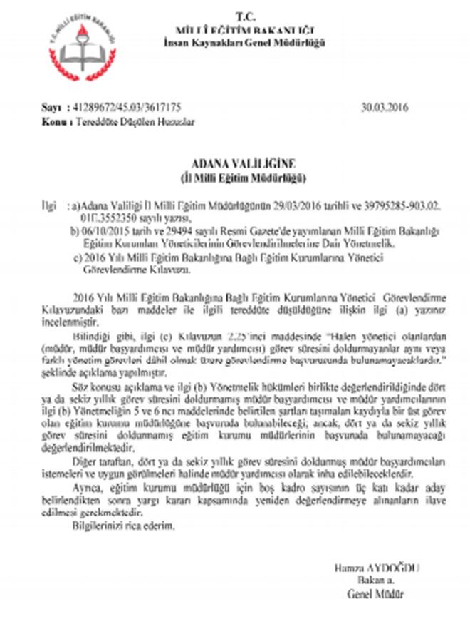 MEB yönetici görevlendirme açıklaması