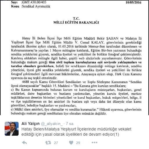 Genel Başkanların Sendikalı İlçe Müdürlüğü Tartışması