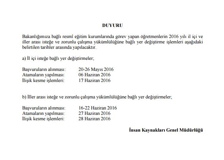 Milli Eğitim Bakanlığı nakil takvimini yayımladı