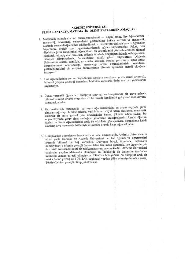 21. Ulusal Antalya Matematik Olimpiyatı MEB Duyurusu