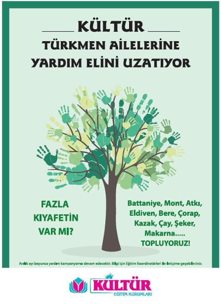 kultur türkmen ailelere yardım ediyor